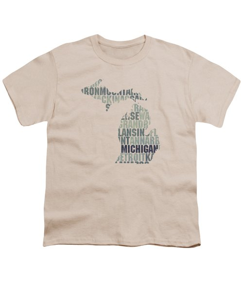 Michigan State Outline Word Map Youth T-Shirt by Design Turnpike