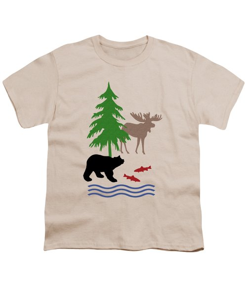 Moose And Bear Pattern Art Youth T-Shirt by Christina Rollo