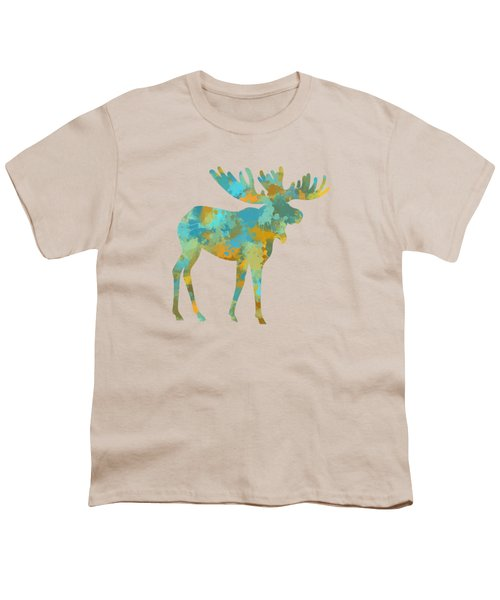 Moose Watercolor Art Youth T-Shirt by Christina Rollo