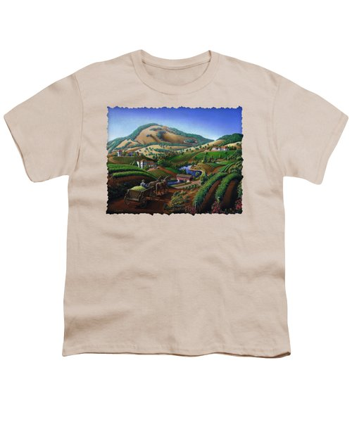 Old Wine Country Landscape - Delivering Grapes To Winery - Vintage Americana Youth T-Shirt by Walt Curlee