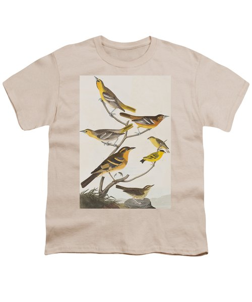 Orioles Thrushes And Goldfinches Youth T-Shirt by John James Audubon