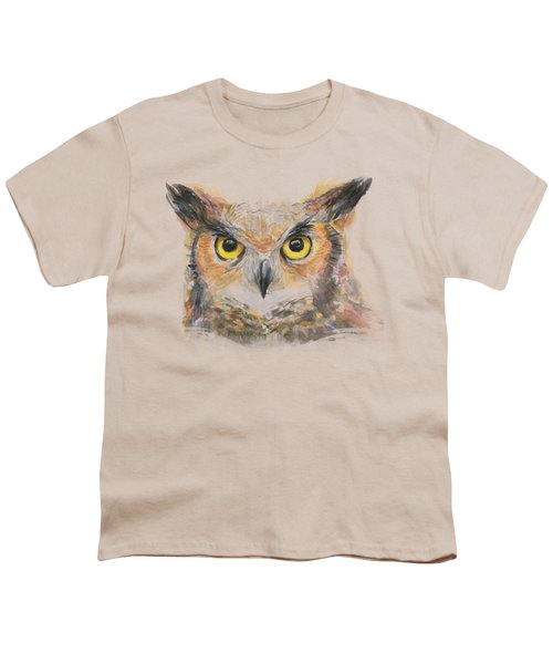 Owl Watercolor Portrait Great Horned Youth T-Shirt by Olga Shvartsur