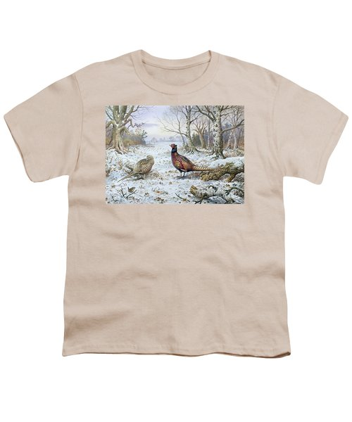 Pair Of Pheasants With A Wren Youth T-Shirt by Carl Donner