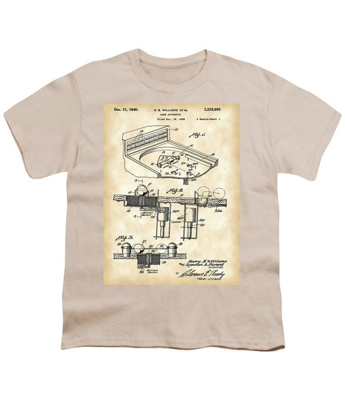Pinball Machine Patent 1939 - Vintage Youth T-Shirt by Stephen Younts
