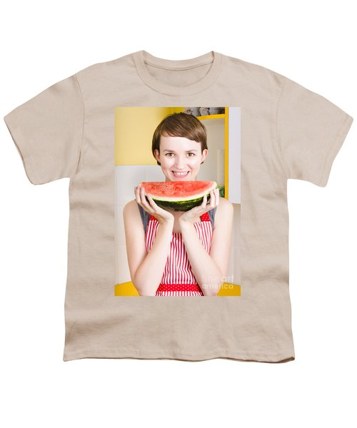 Smiling Young Woman Eating Fresh Fruit Watermelon Youth T-Shirt by Jorgo Photography - Wall Art Gallery