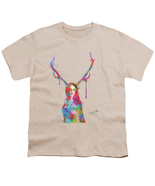 Song Of Elen Of The Ways Antlered Goddess Youth T-Shirt by Nikki Marie Smith
