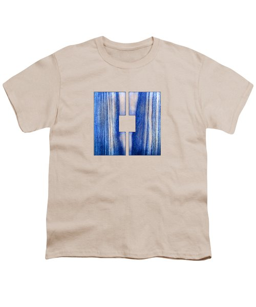 Split Square Blue Youth T-Shirt by YoPedro