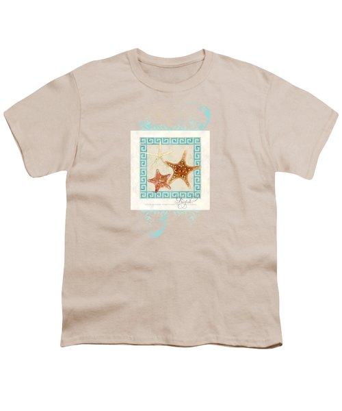 Starfish Greek Key Pattern W Swirls Youth T-Shirt by Audrey Jeanne Roberts