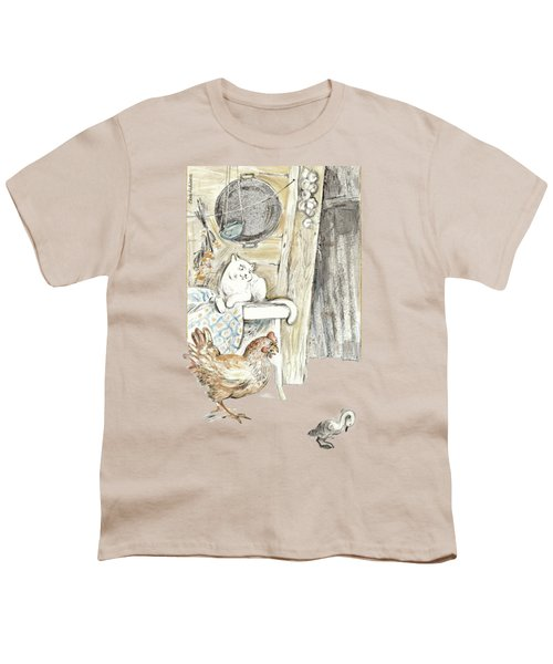 The Ugly Duckling - Bullied By Mean Hen And Proud White Cat - Illustration For Classic Fairy Tale Youth T-Shirt by Elena Abdulaeva
