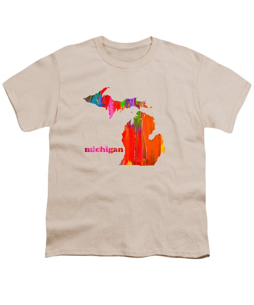 Vibrant Colorful Michigan State Map Painting Youth T-Shirt by Design Turnpike