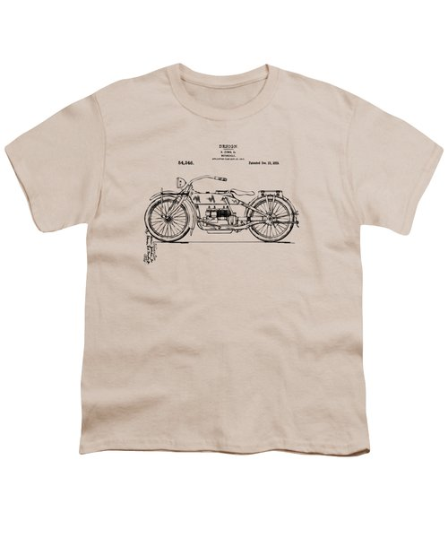 Vintage Harley-davidson Motorcycle 1919 Patent Artwork Youth T-Shirt by Nikki Smith