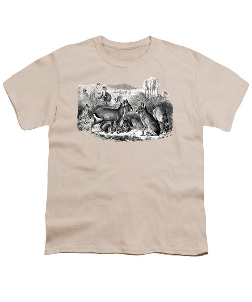 woodcut drawing of South American Maras Youth T-Shirt by The one eyed Raven