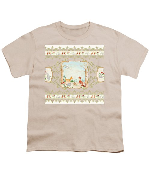 Woodland Fairy Tale - Blush Pink Forest Gathering Of Woodland Animals Youth T-Shirt by Audrey Jeanne Roberts