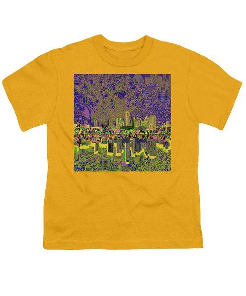 Austin Texas Skyline Youth T-Shirt by Bekim Art
