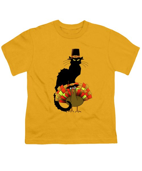 Thanksgiving Le Chat Noir With Turkey Pilgrim Youth T-Shirt by Gravityx9   Designs