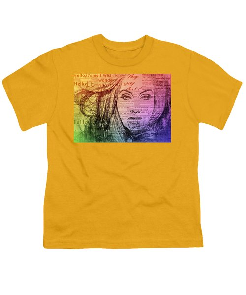 Adele Hello Typography  Youth T-Shirt by Dan Sproul