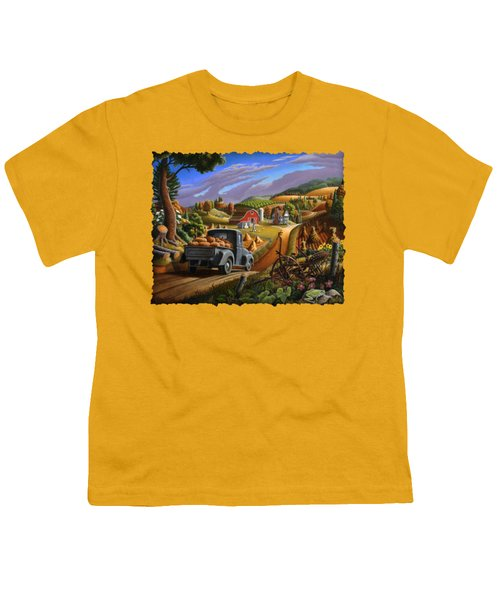 Autumn Appalachia Thanksgiving Pumpkins Rural Country Farm Landscape - Folk Art - Fall Rustic Youth T-Shirt by Walt Curlee