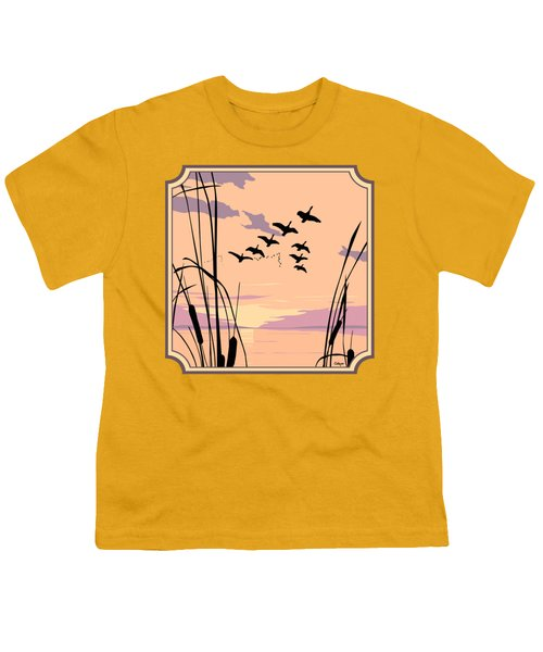 Ducks Flying Over The Lake Abstract Sunset - Square Format Youth T-Shirt by Walt Curlee