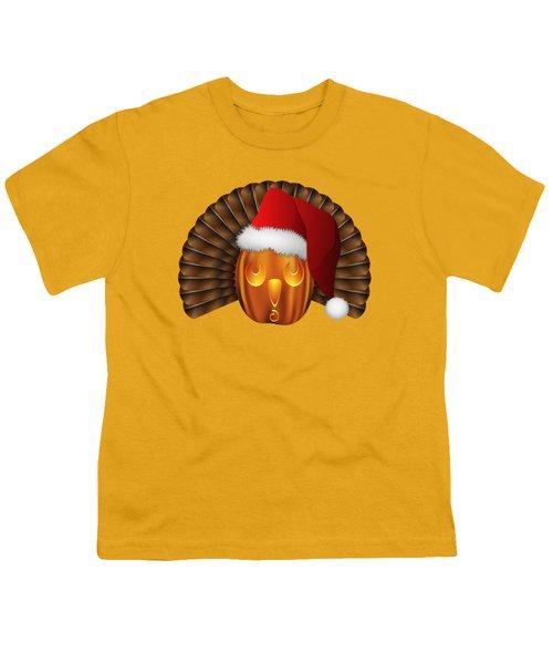 Hallowgivingmas Santa Turkey Pumpkin Youth T-Shirt by MM Anderson