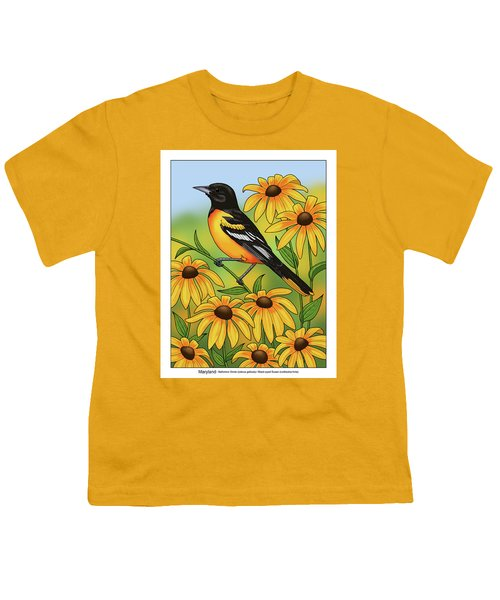 Maryland State Bird Oriole And Daisy Flower Youth T-Shirt by Crista Forest
