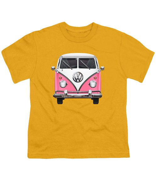 Pink And White Volkswagen T 1 Samba Bus On Yellow Youth T-Shirt by Serge Averbukh
