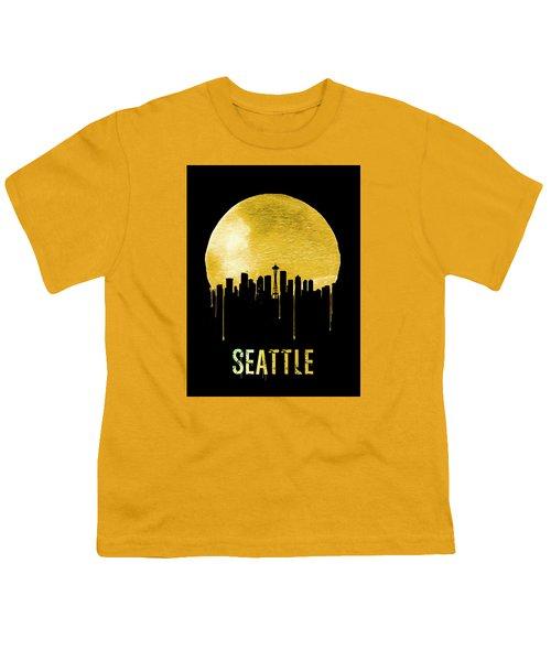 Seattle Skyline Yellow Youth T-Shirt by Naxart Studio