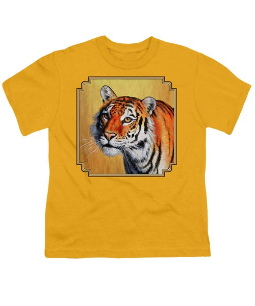 Tiger Portrait Youth T-Shirt by Crista Forest