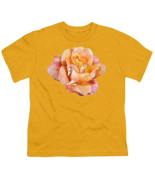 Unicorn Rose Youth T-Shirt by Carol Cavalaris