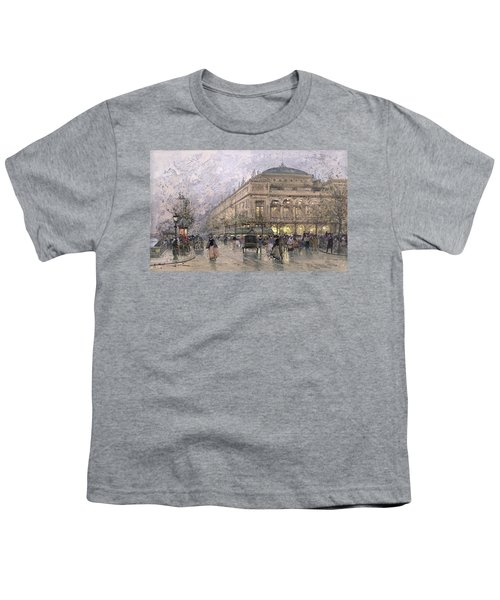 Parisian Street Scene Youth T-Shirt by Eugene Galien-Laloue