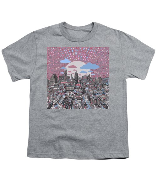 Austin Texas Abstract Panorama 3 Youth T-Shirt by Bekim Art