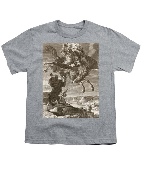 Bellerophon Fights The Chimaera, 1731 Youth T-Shirt by Bernard Picart