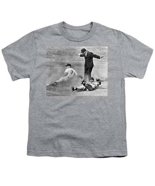 Mickey Mantle Steals Second Youth T-Shirt by Underwood Archives