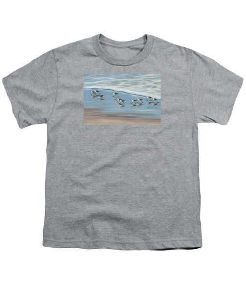 Sandpipers Youth T-Shirt by Tina Obrien