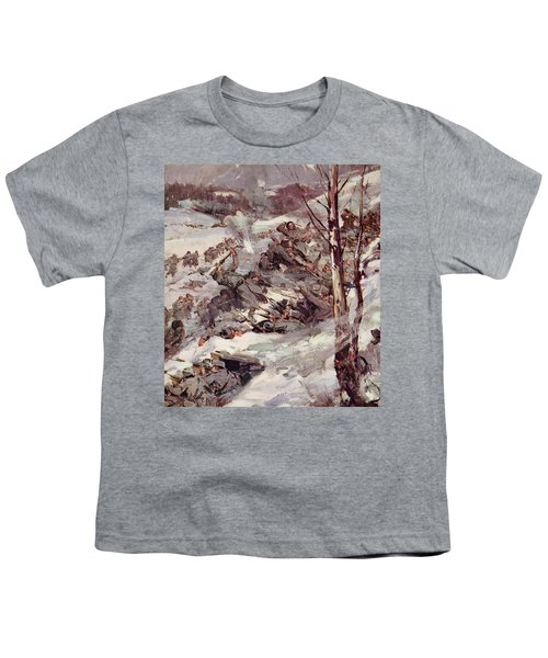 The Russians Fighting Their Way Over The Carpathians Youth T-Shirt by Cyrus Cuneo