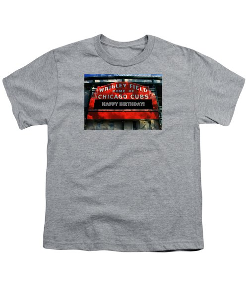 Wrigley Field -- Happy Birthday Youth T-Shirt by Stephen Stookey