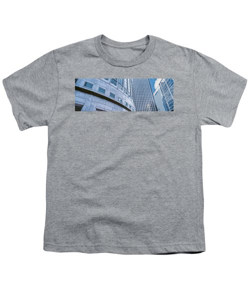 Skyscrapers In A City, Canary Wharf Youth T-Shirt by Panoramic Images
