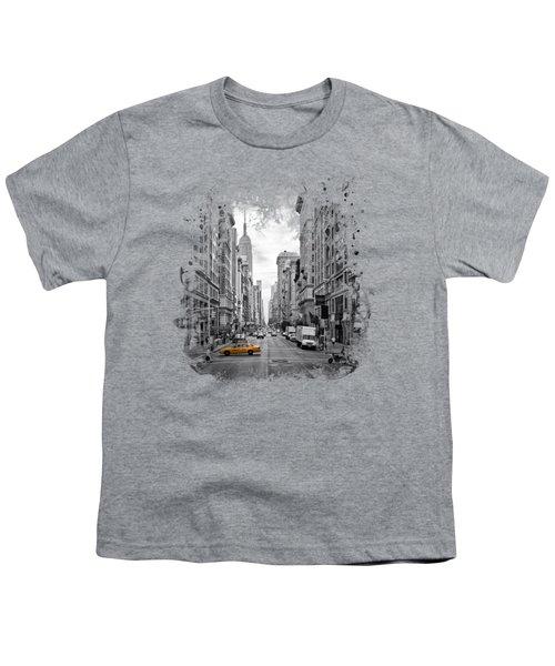 New York City 5th Avenue Youth T-Shirt by Melanie Viola