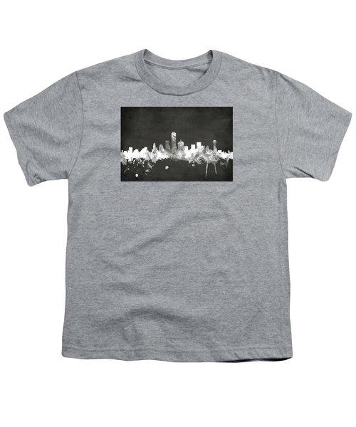 Dallas Texas Skyline Youth T-Shirt by Michael Tompsett