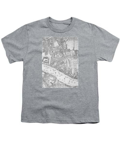 A Map Of The Tower Of London Youth T-Shirt by John Rocque