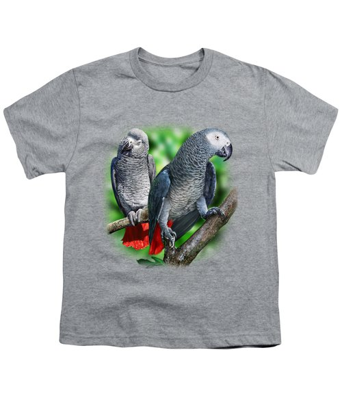 African Grey Parrots A Youth T-Shirt by Owen Bell