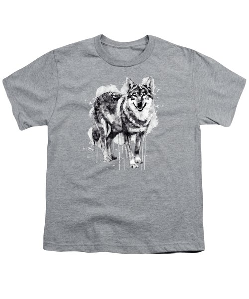 Alpha Wolf Black And White Youth T-Shirt by Marian Voicu