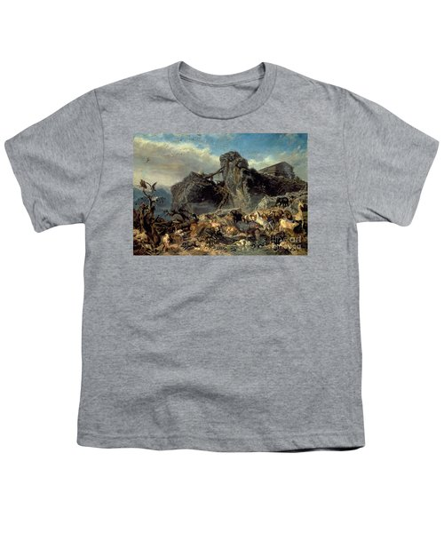 Animals Leaving The Ark, Mount Ararat  Youth T-Shirt by Filippo Palizzi