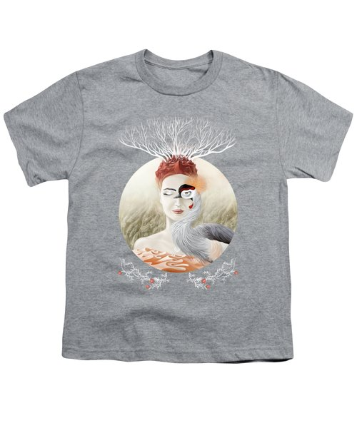 Bird Of Cranes Youth T-Shirt by Ruta Dumalakaite
