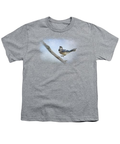 Blue Jay In The Snow Youth T-Shirt by Jai Johnson