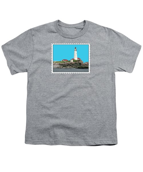 Boston Harbor Lighthouse Youth T-Shirt by Elaine Plesser