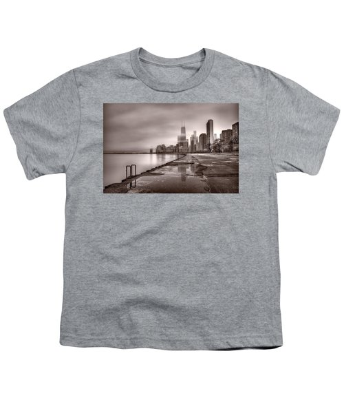 Chicago Foggy Lakefront Bw Youth T-Shirt by Steve Gadomski
