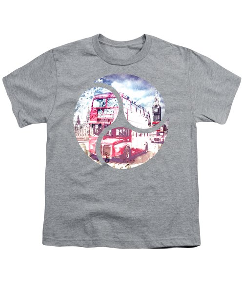 City-art London Red Buses On Westminster Bridge Youth T-Shirt by Melanie Viola
