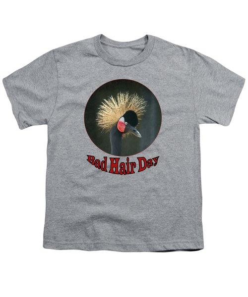 Crowned Crane - Bad Hair Day - Transparent Youth T-Shirt by Nikolyn McDonald