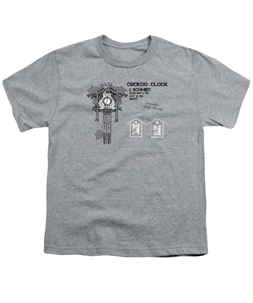 Cuckoo Clock Patent Art Youth T-Shirt by Justyna JBJart