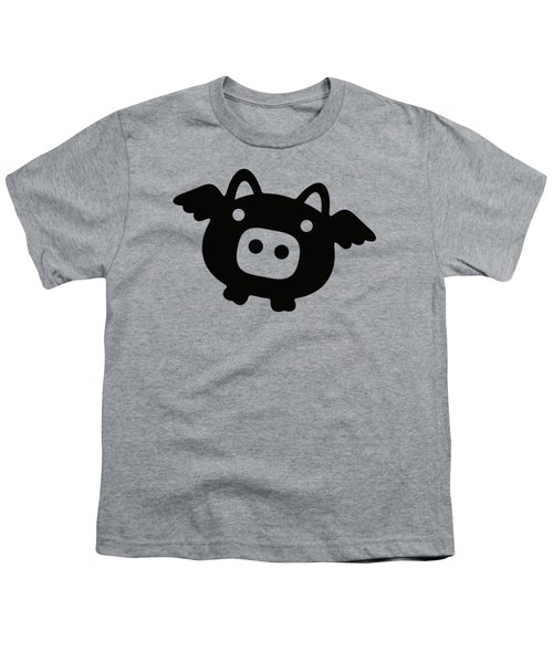 Flying Pig - Black Youth T-Shirt by Julia Jasiczak